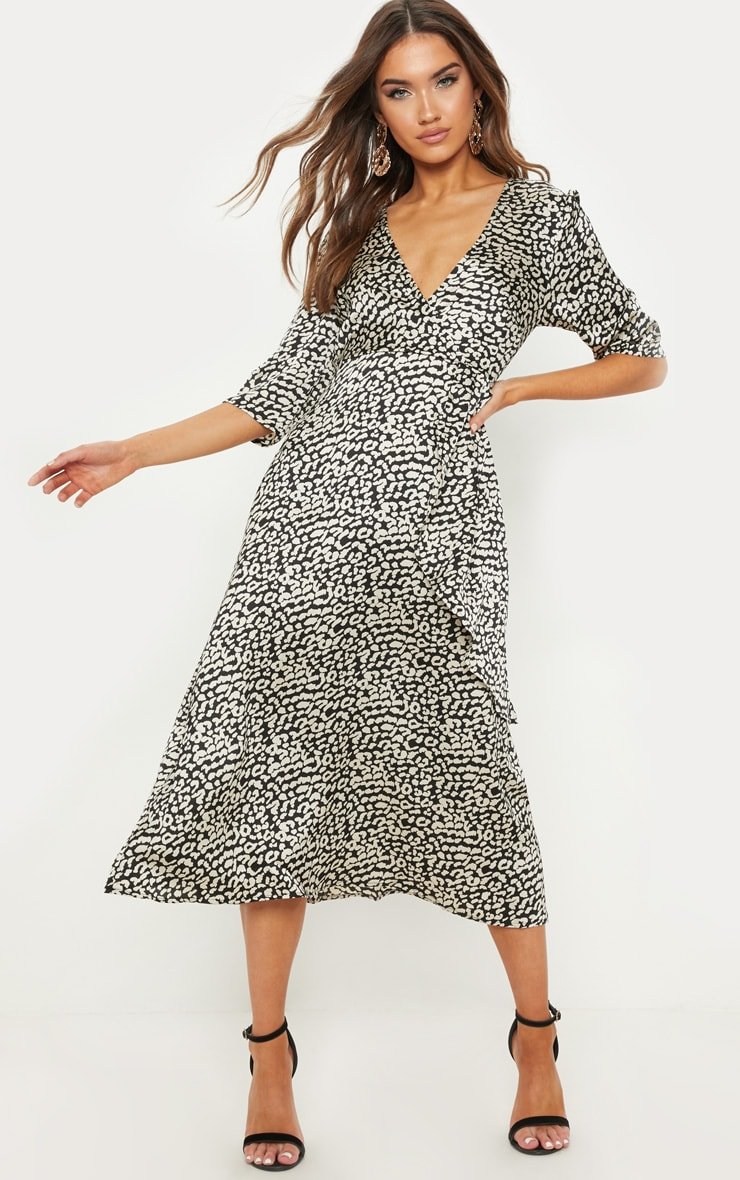 Monochrome Leopard Print Satin Drape Detail Skater Midi Dress  1