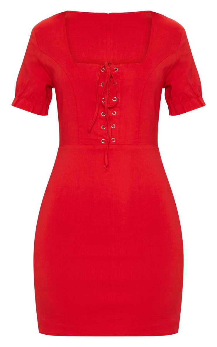 Red Lace Up Frill Detail Bodycon Dress 3