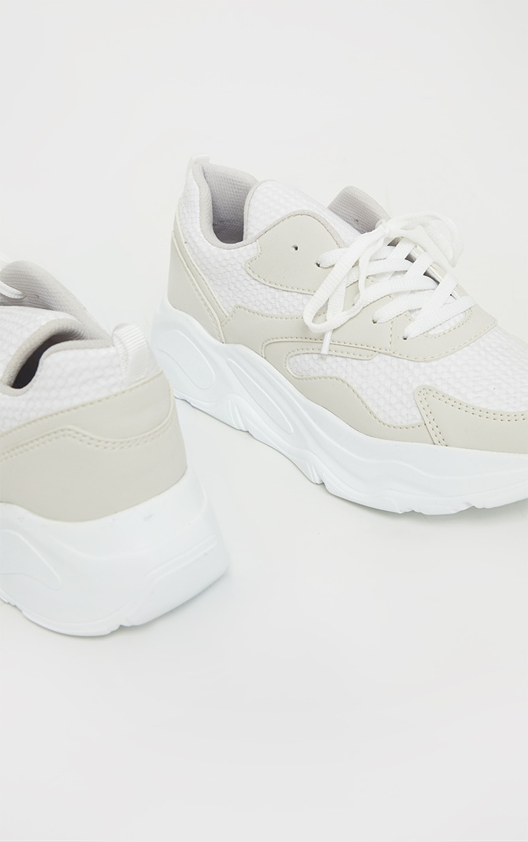 White Chunky Detail Sole Mesh Lace Up Trainers 4