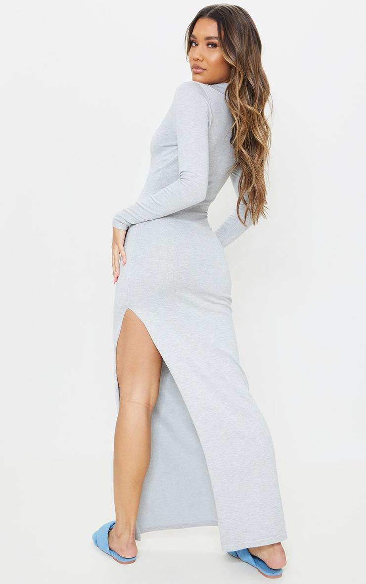 Grey Collar Detail Maxi Side Split Knitted Dress 2