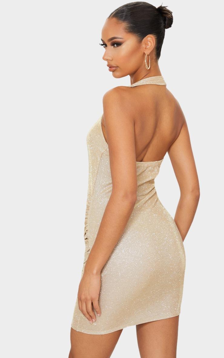 Gold Glitter Halterneck Ruched Wrap Skirt Bodycon Dress 2