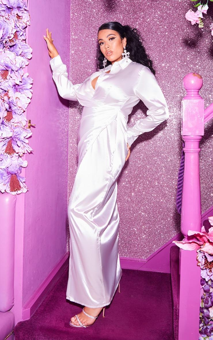 Plus White Satin Drape Extreme Split Maxi Shirt Dress  4