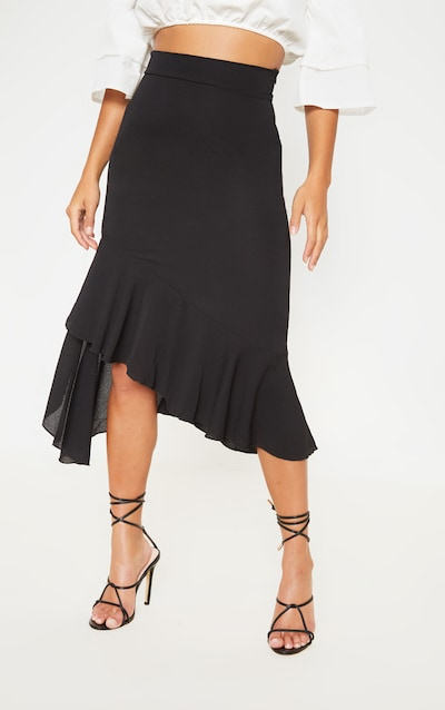 Petite Black Ruffle Detail Midi Skirt