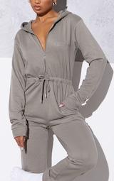 RENEW PRETTYLITTLETHING Light Khaki Hooded Sweat Jumpsuit 4