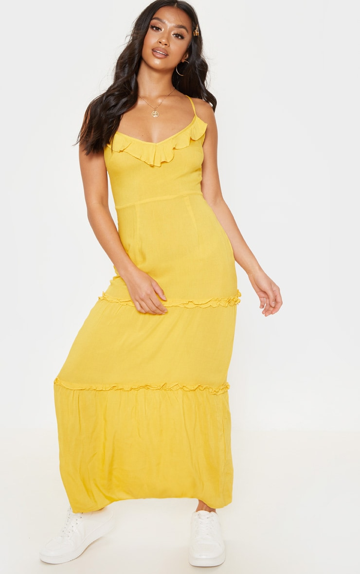 a6efa0a7a96e8 Petite - Robe longue jaune vif à volants | PrettyLittleThing FR