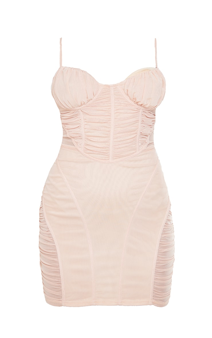 Nude Strappy Mesh Ruched Panel Detail Bodycon Dress 5