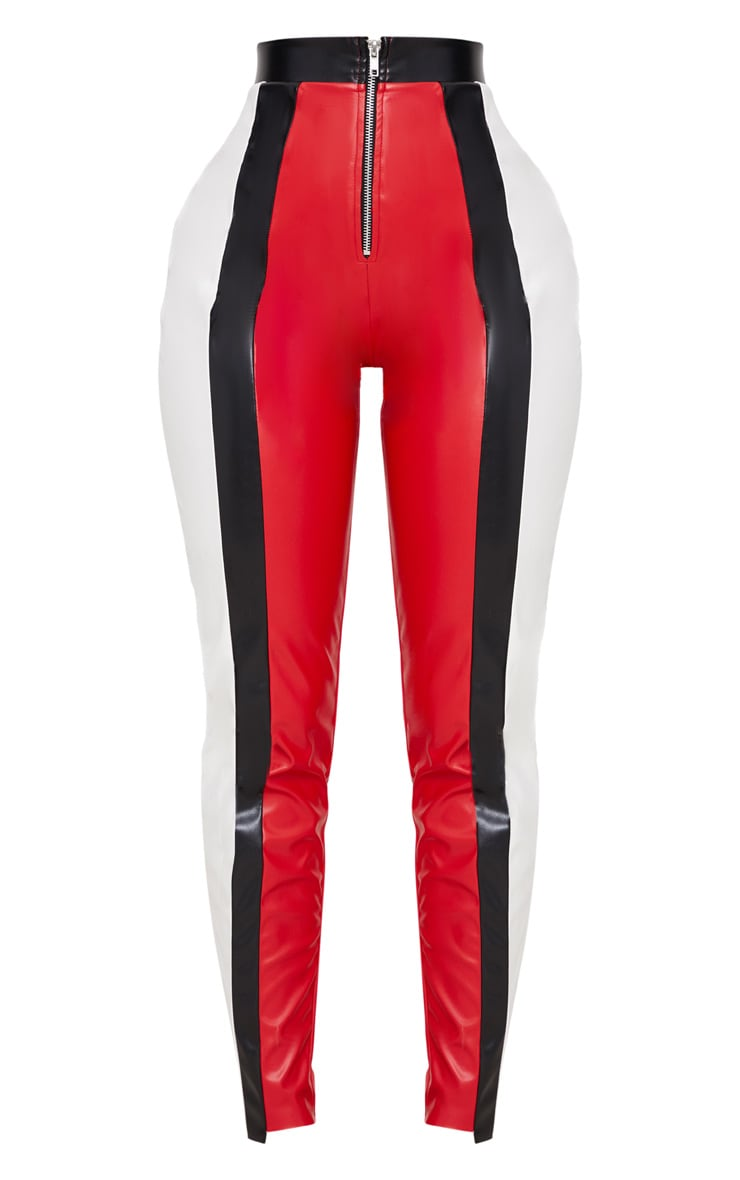 Shape Red PU Panel Trousers 3