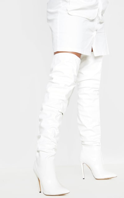White Slouch Thigh Boot