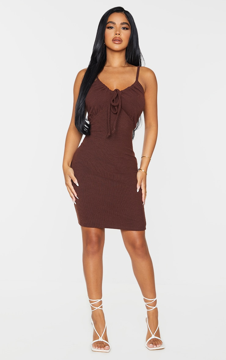 Petite Chocolate Strappy Ruched Rib Dress 3
