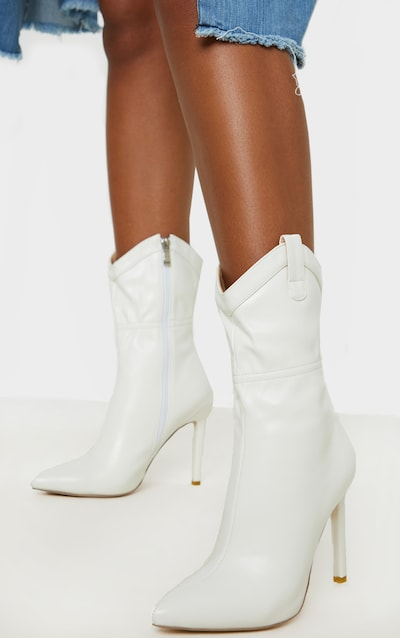 White Western Detail Point Ankle Boot
