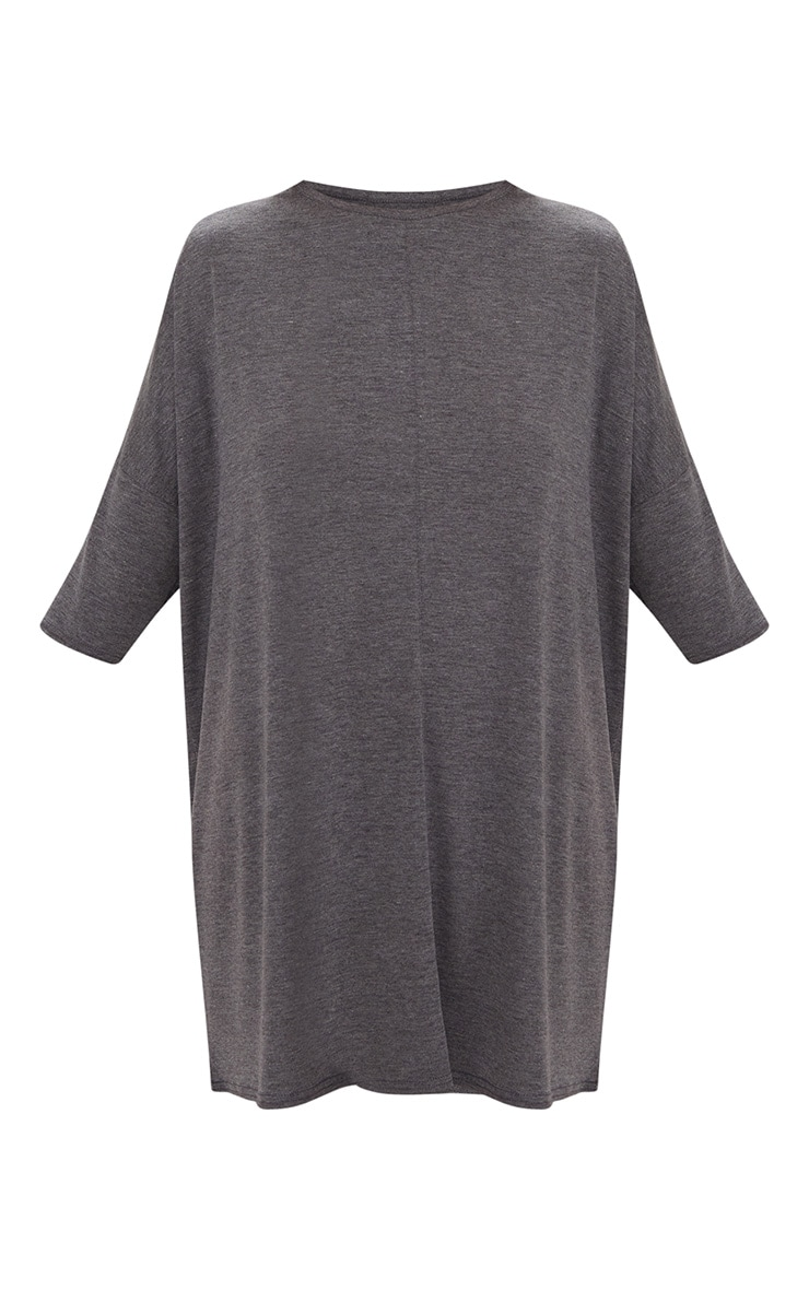 Basic Charcoal Oversized Batwing T Shirt Dress 3