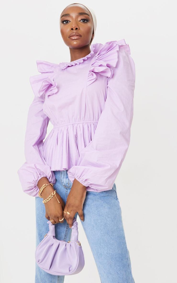 Lilac Frill High Neck Peplum Top image 1