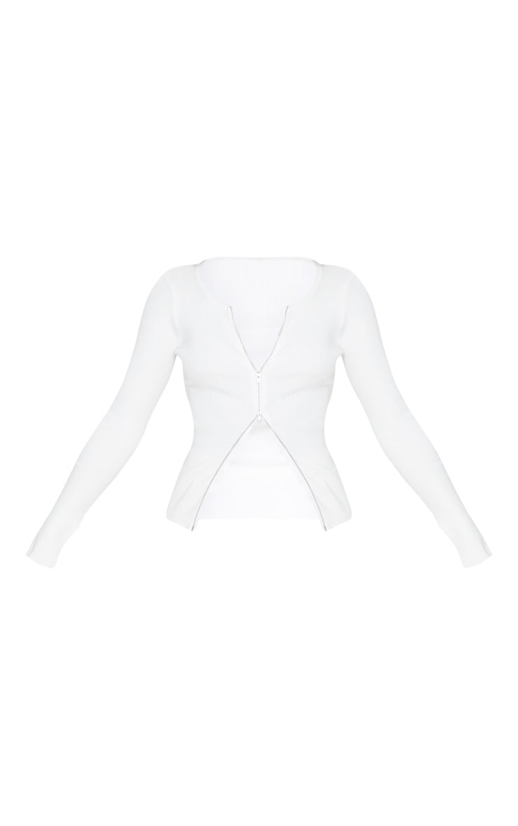 White Zip Front Knit Top 3