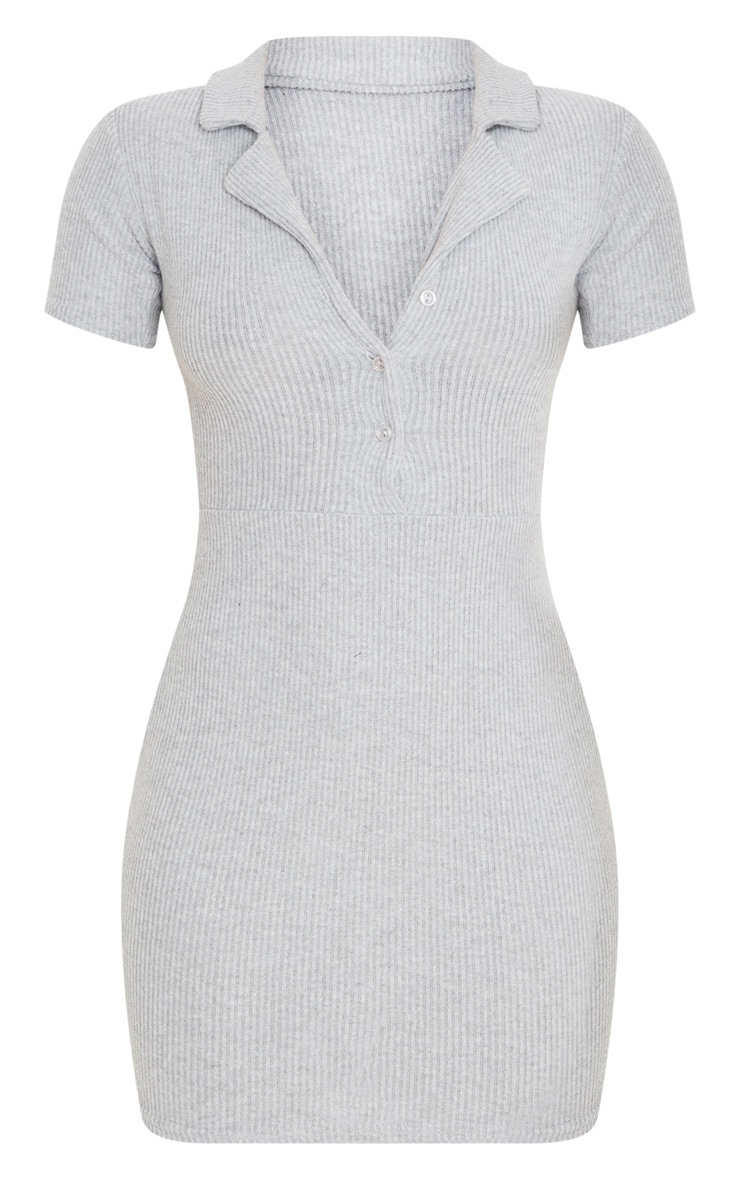 Grey Brushed Rib Polo Collar Button Bodycon Dress 3