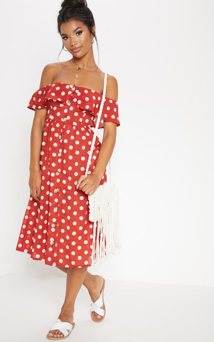 Burnt Orange Polka Dot Bardot Button Up Midi Dress