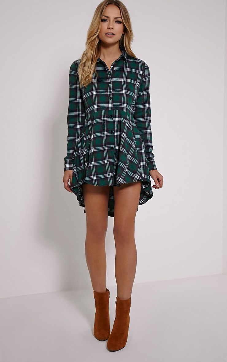 Bobbi Green Checked Skater Shirt Dress 3