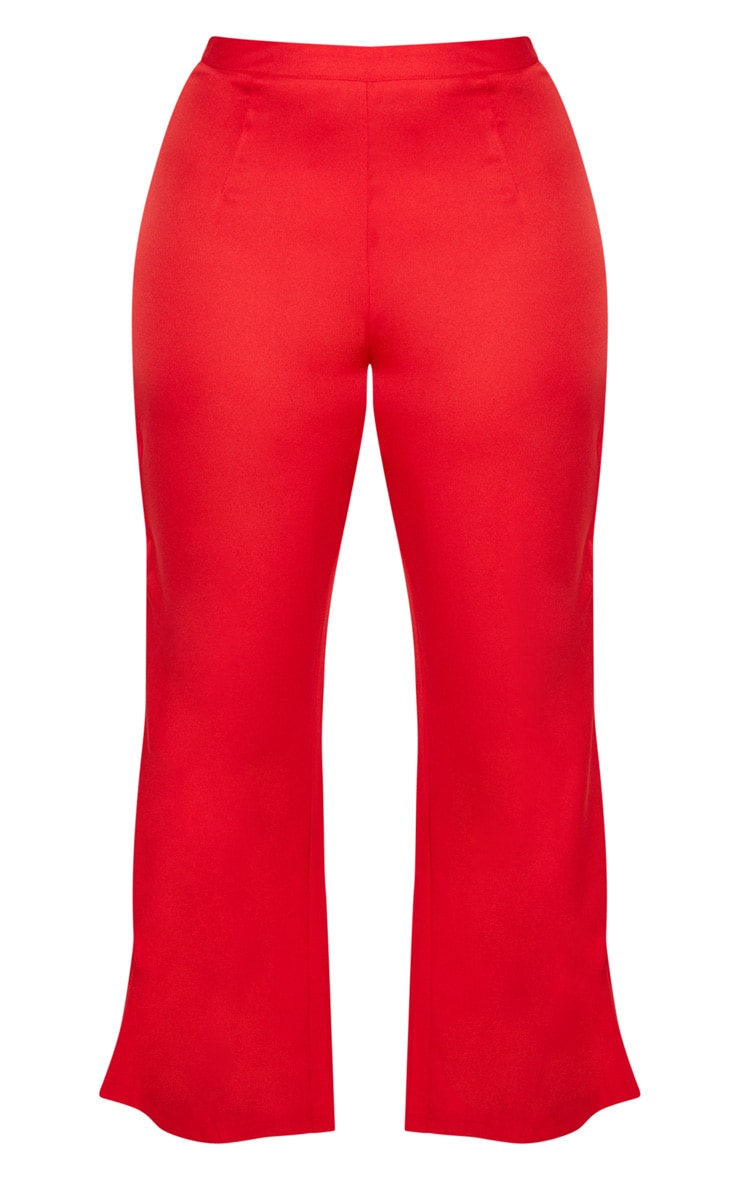 Plus Red Wide Leg Suit Trousers 3