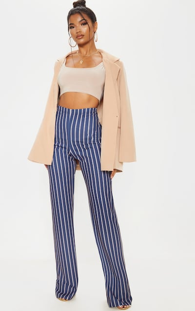 Navy Stripe Crepe High Waisted Wide Leg Trouser