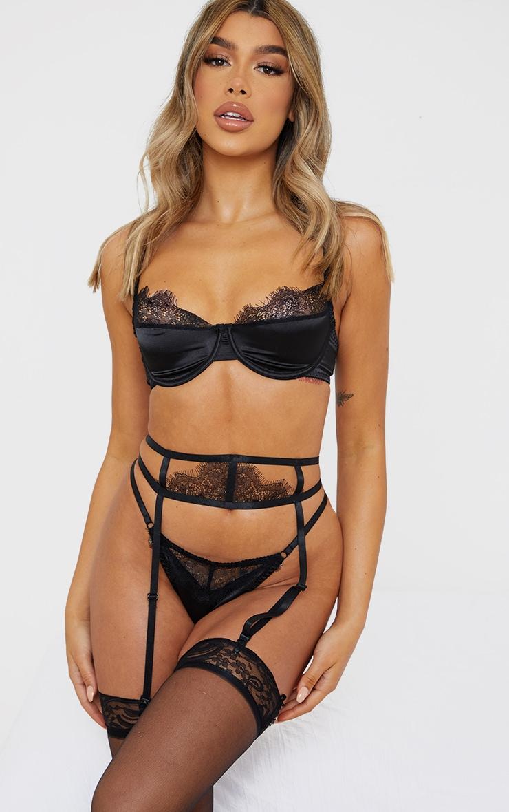 Black Lace Suspender Detail 3 Piece Lingerie Set 1