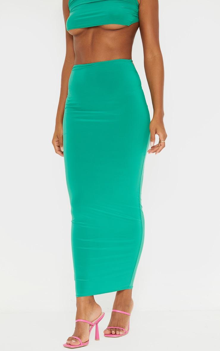Bright Green Slinky Thong Bum Detail Midaxi Skirt 2