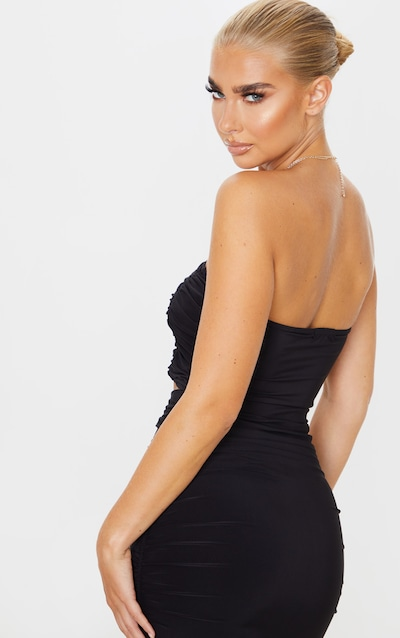 Black Slinky Double Front Ruched Bandeau