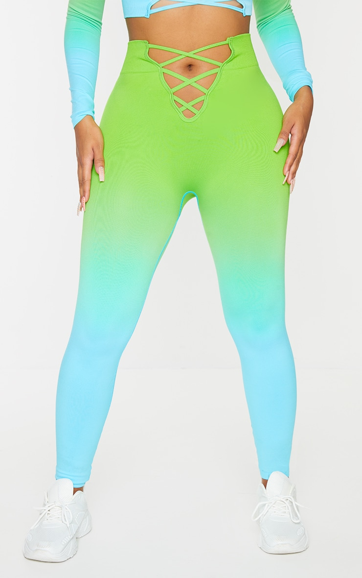 PRETTYLITTLETHING Shape Blue Ombre Lace Up Gym Leggings 2
