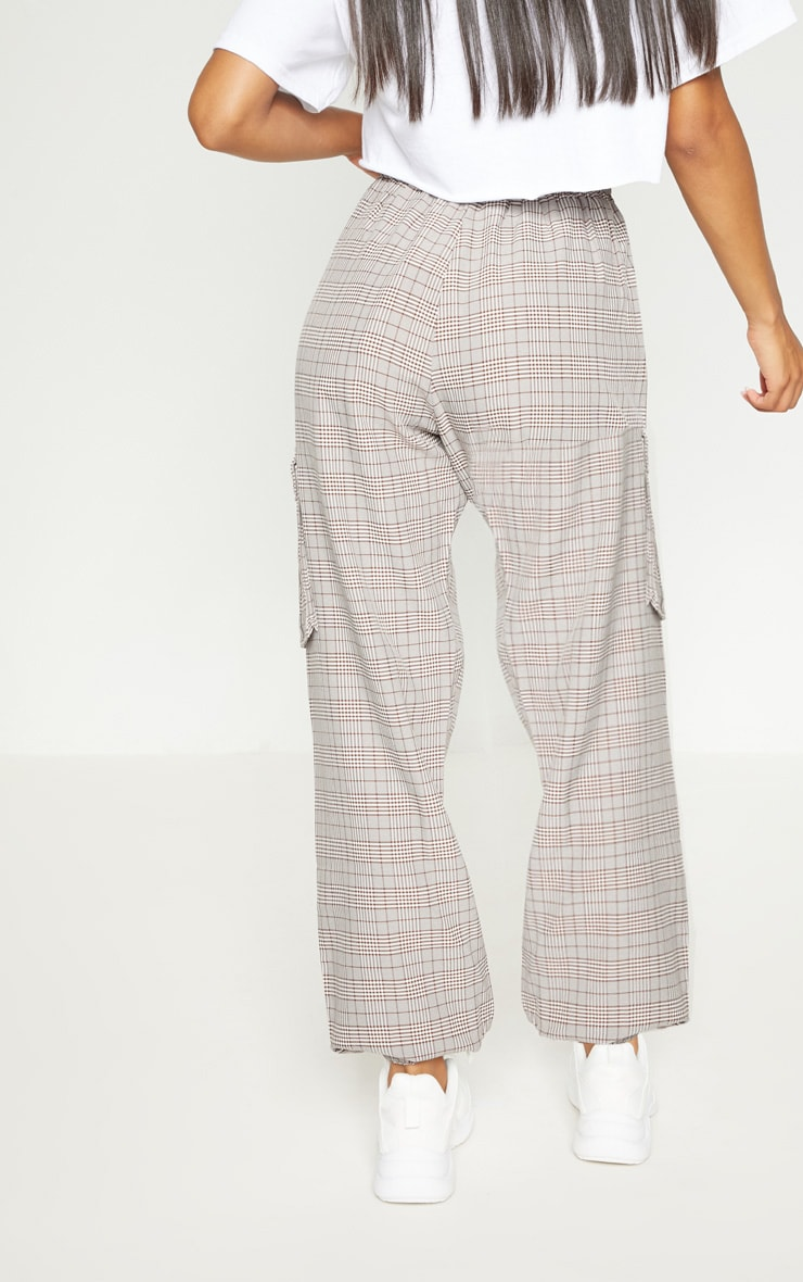 Brown Check Drawstring High Waisted Trousers 5