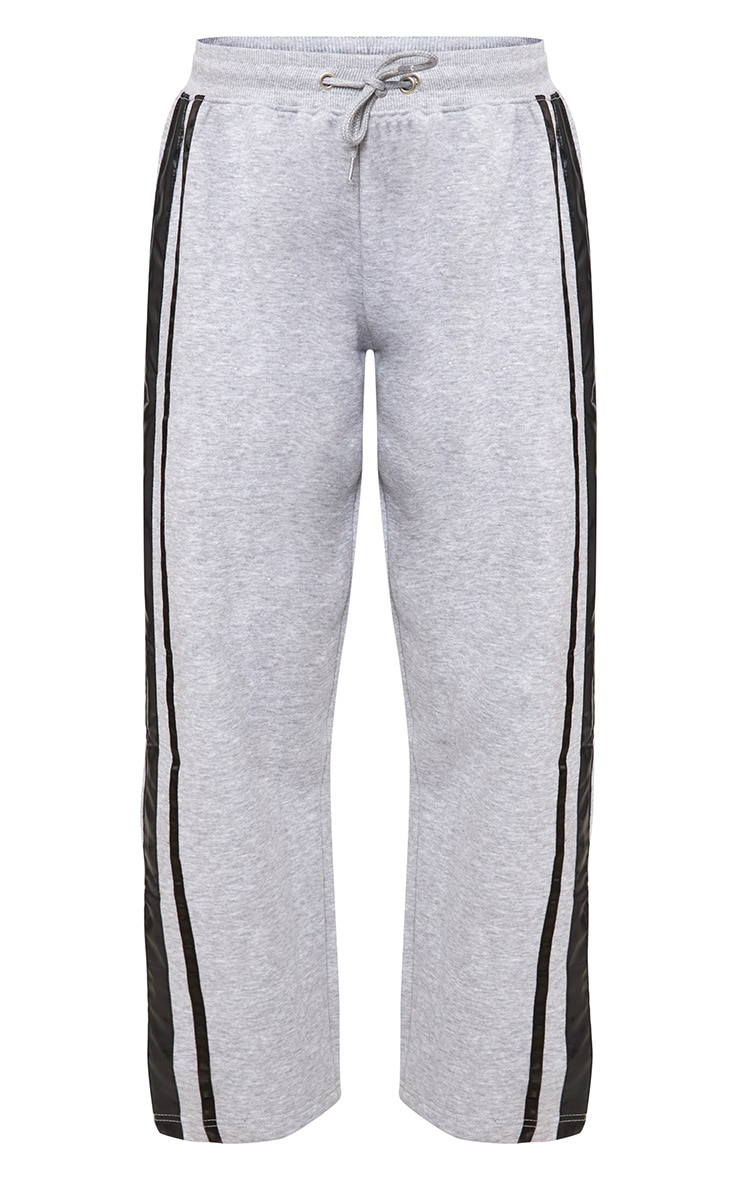 Grey Contrast Silk Stripe Wide Leg Track Pants 3