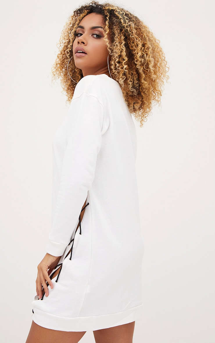 PRETTYLITTLETHING White Lace Up Sweater Dress 2