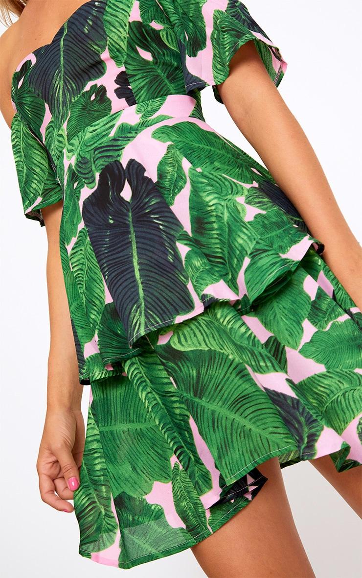 Pink Tropical Print Frill Bardot Swing Dress 5