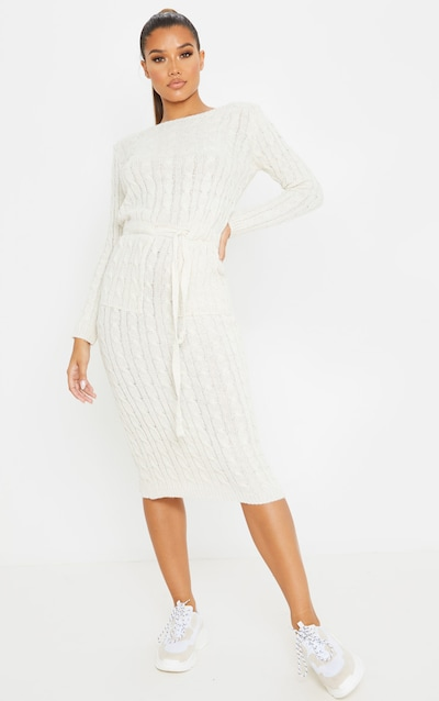 Beige Cable Knit Tie Waist Midi Jumper Dress