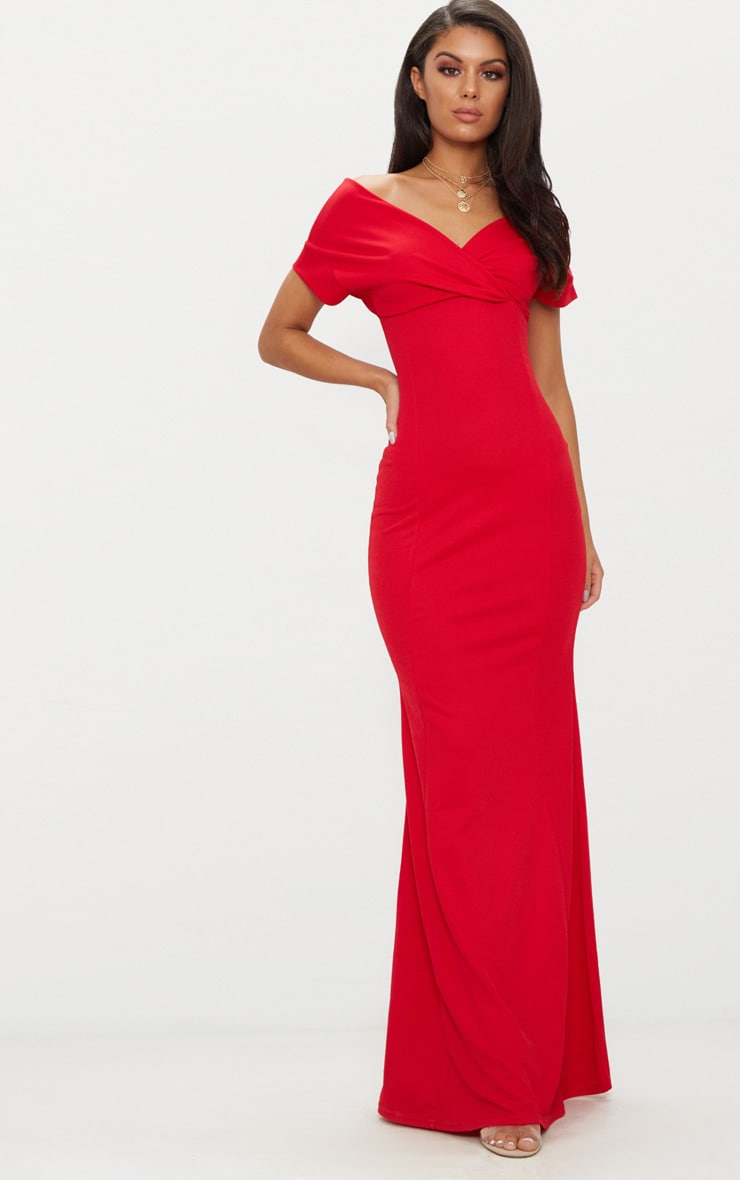 12099d36c112 Red Off The Shoulder Plunge Maxi Dress image 1