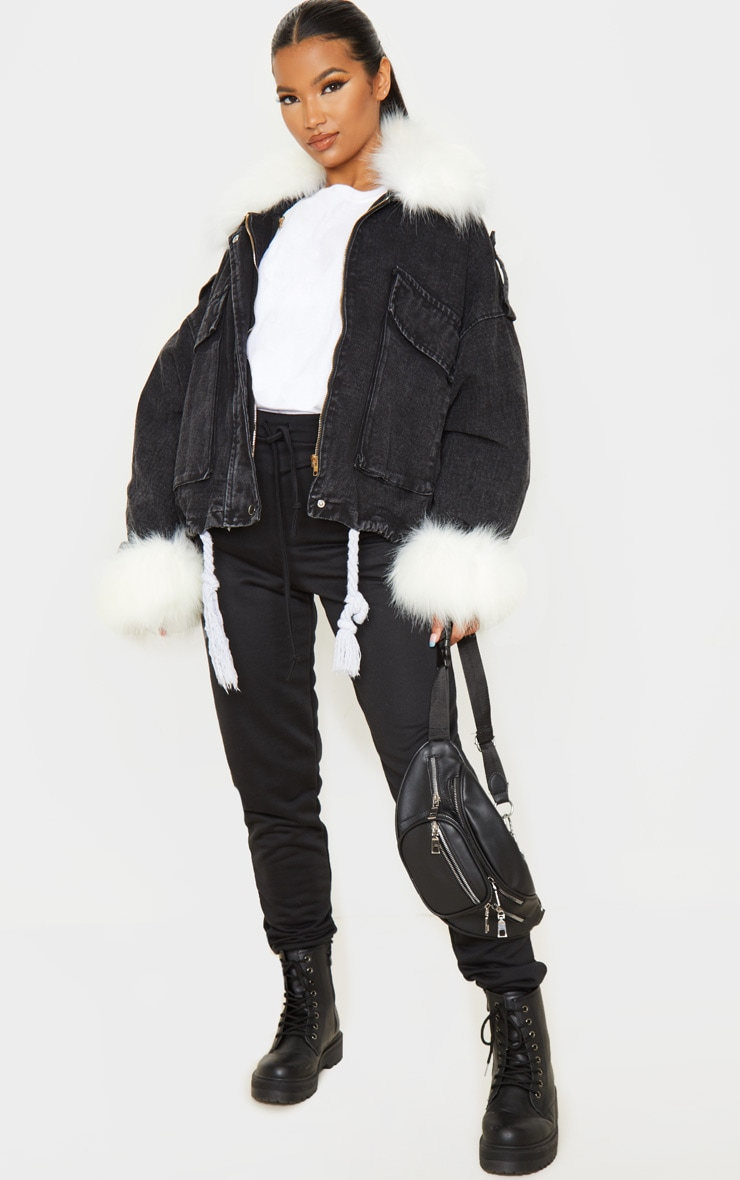 Black Faux Fur Trim Denim Jacket 4