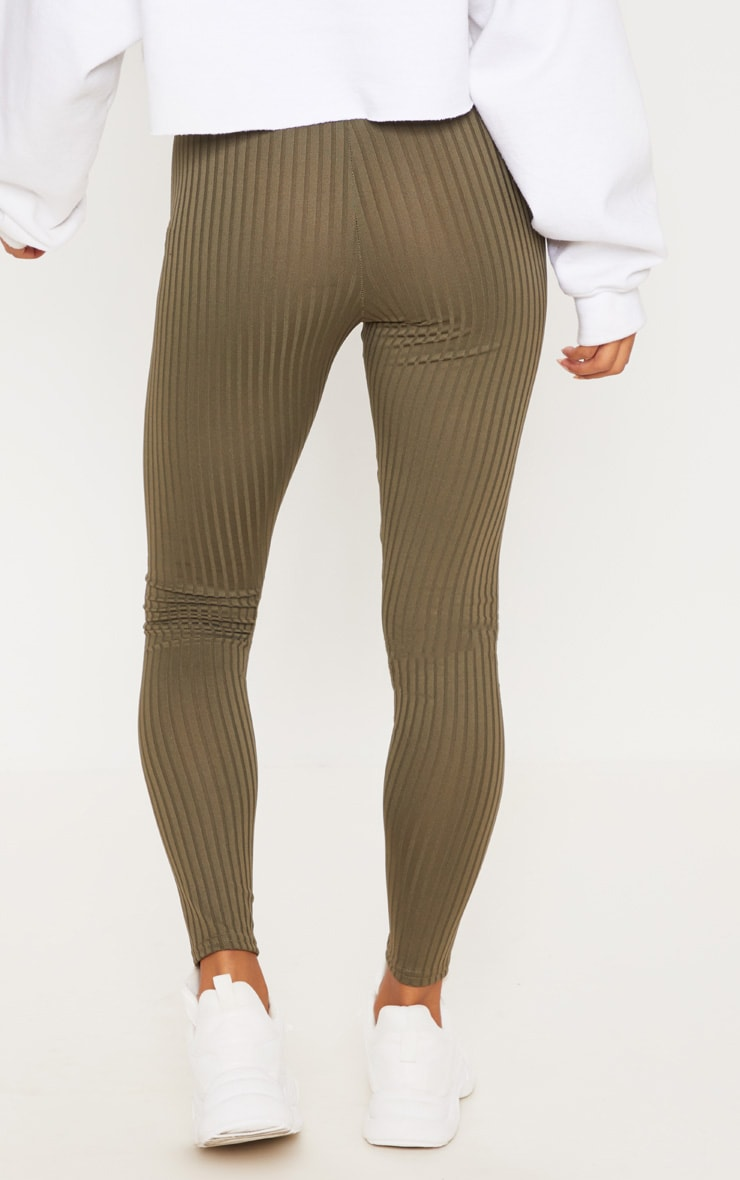 Khaki Ribbed Tie Detail Legging 4