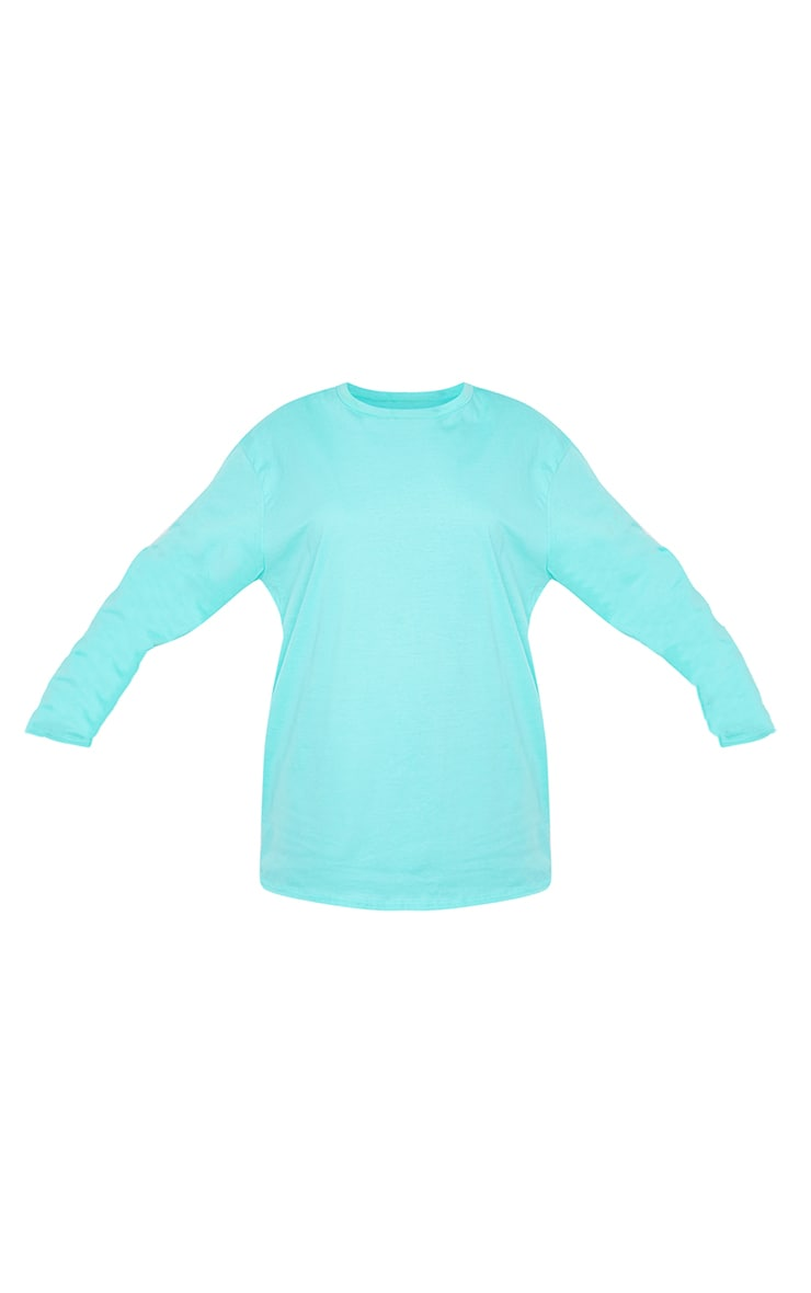 Tee-shirt manches longues turquoise oversize style boyfriend 5