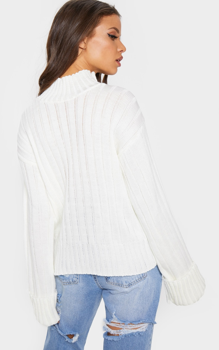 Cream High Neck Rib Sweater 2