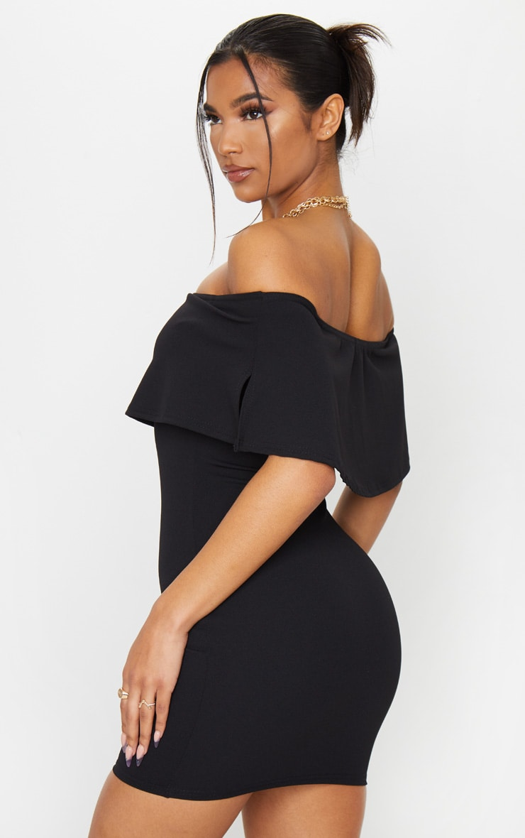 Carley Black Frill Bodycon Dress 3