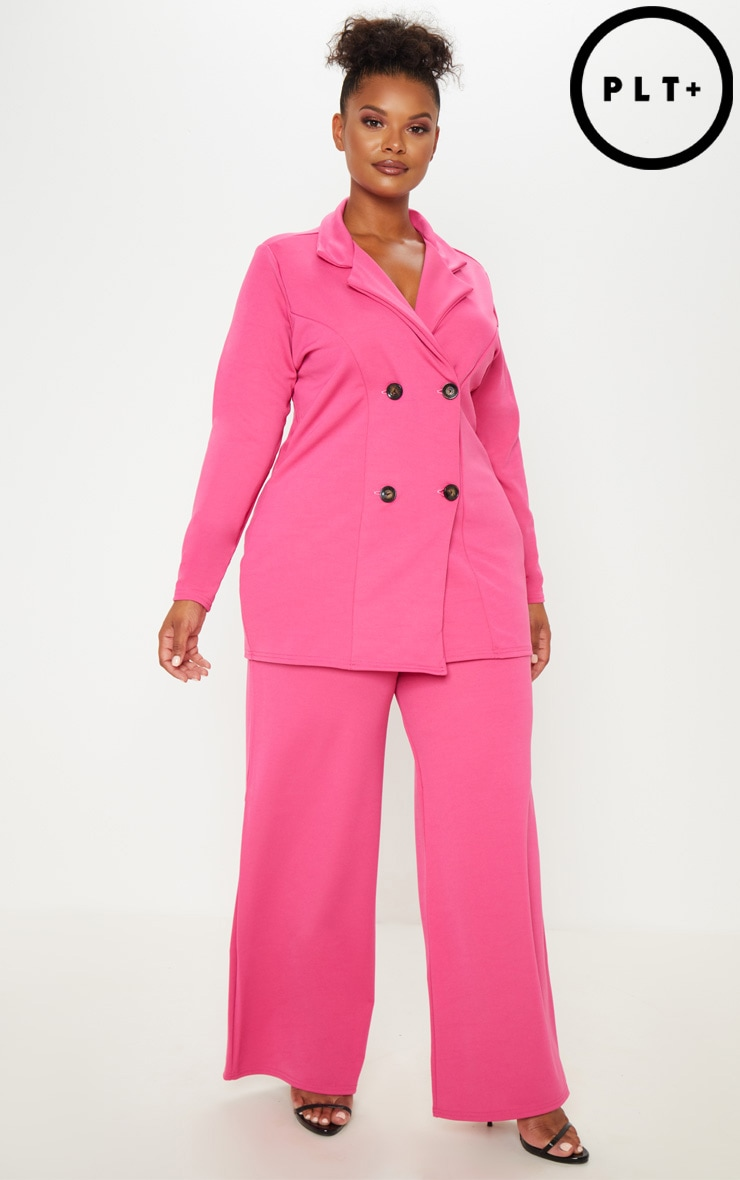 Plus Pink Wide Leg Pocket Trouser