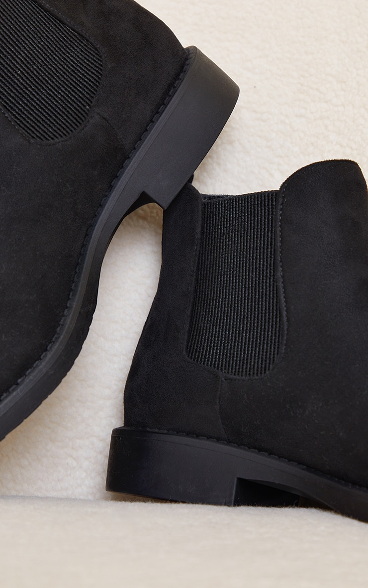 Black Faux Suede Basic Chelsea Ankle Boots 4