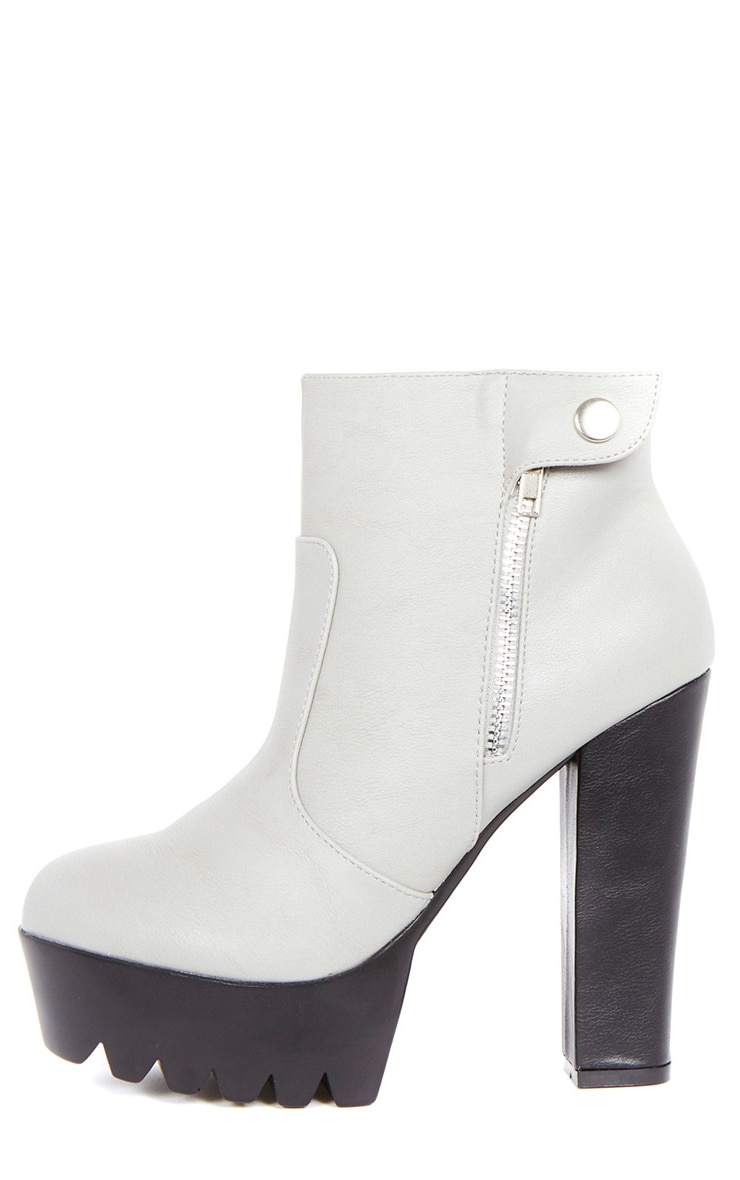 Liberty Grey Cleated Sole Zip Detail Boot  1