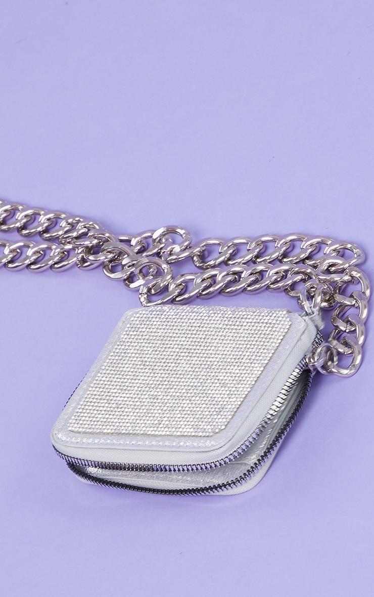Silver Diamante Chunky Chain Mini Cross Body Bag 2