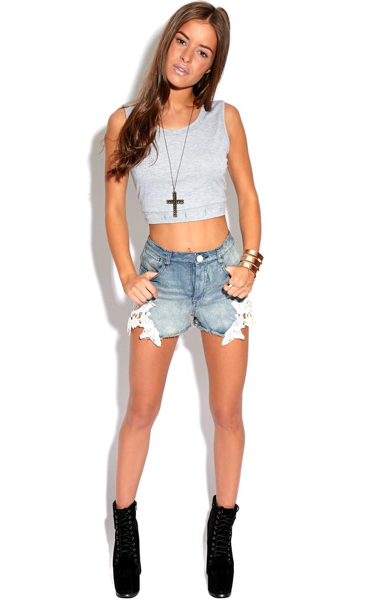 Alesha Denim Hotpant Shorts With Crochet Detail 3