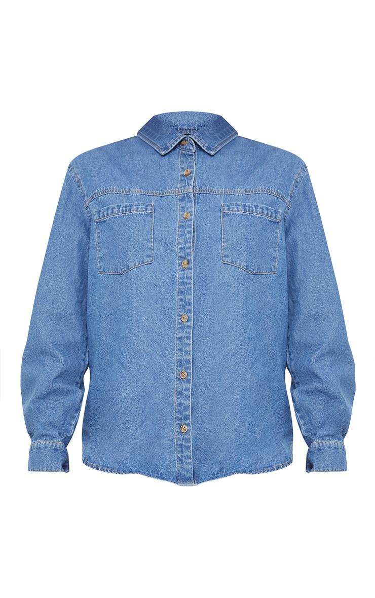 Mid Wash Extreme Distressed Back Denim Shirt 3