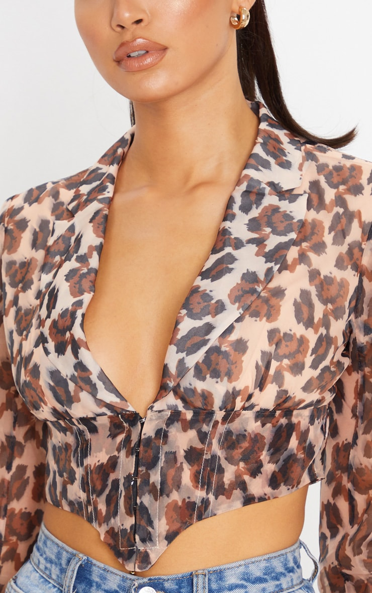 Tan Leopard Sheer Organza Pointed Hem Shirt 5
