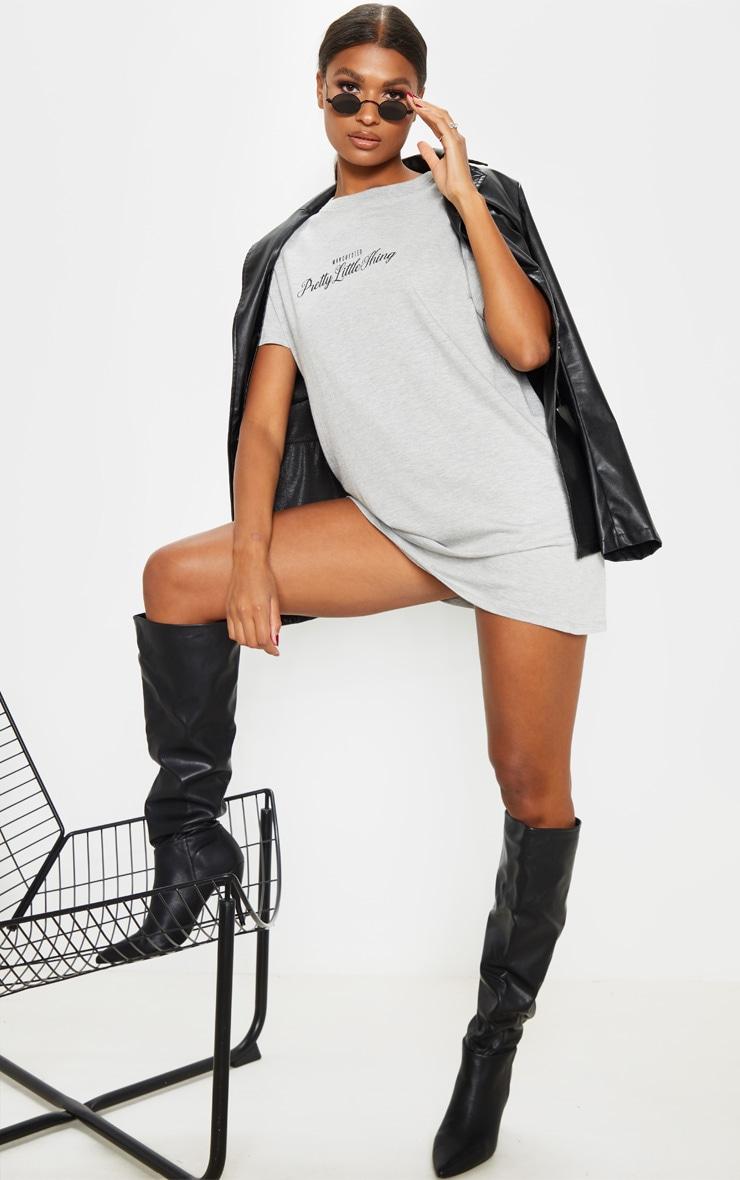 PRETTYLITTLETHING Grey Script Slogan Oversized T Shirt Dress 4