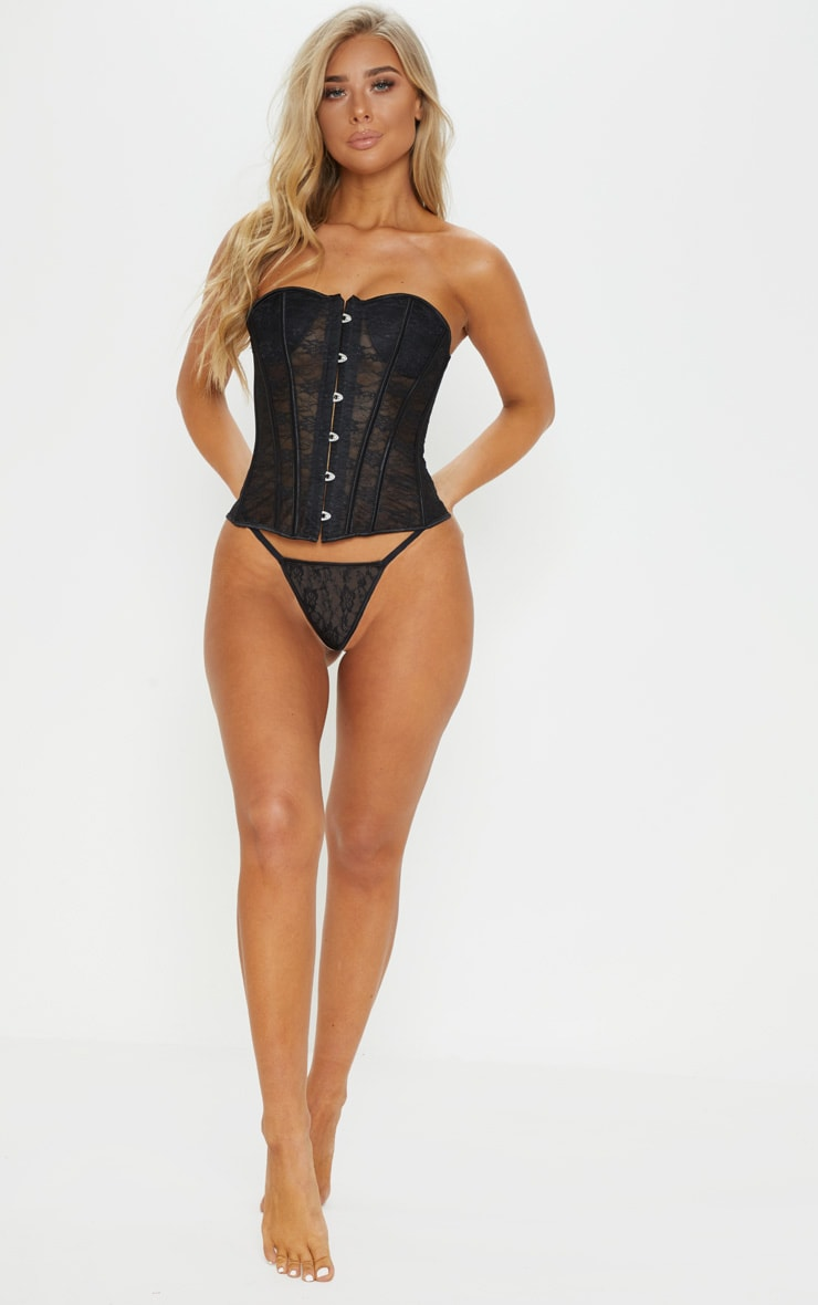 Black Sweetheart Boned Lace Corset 4