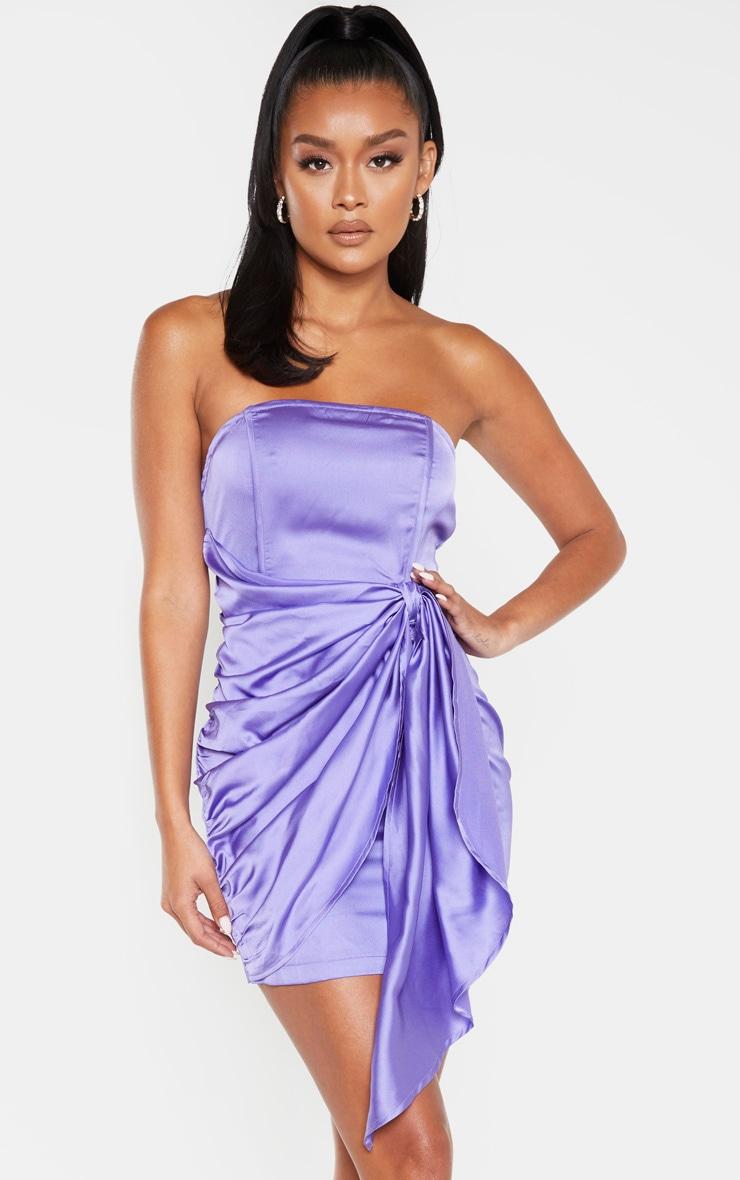 Purple Satin Knot Detail Bandeau Bodycon Dress 1