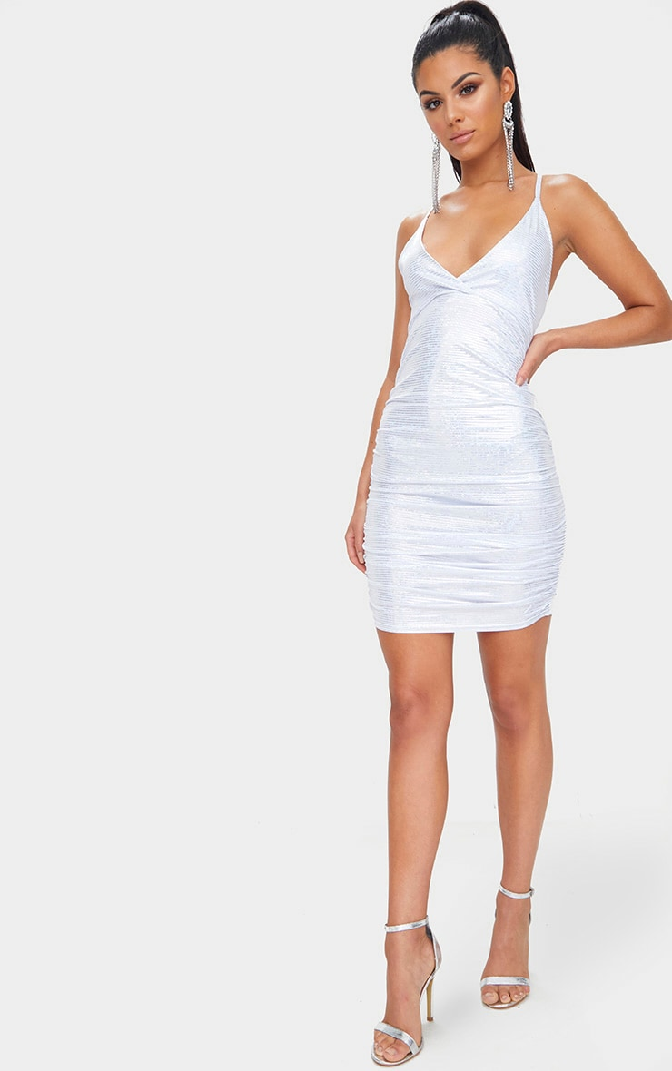 Silver Sequin Printed Plunge Ruched Bodycon Dress 4