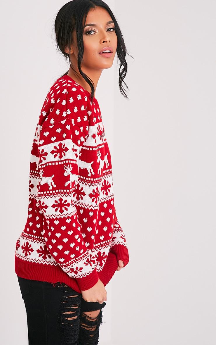 Snowflake/Reindeer Red Mix Christmas Jumper 4