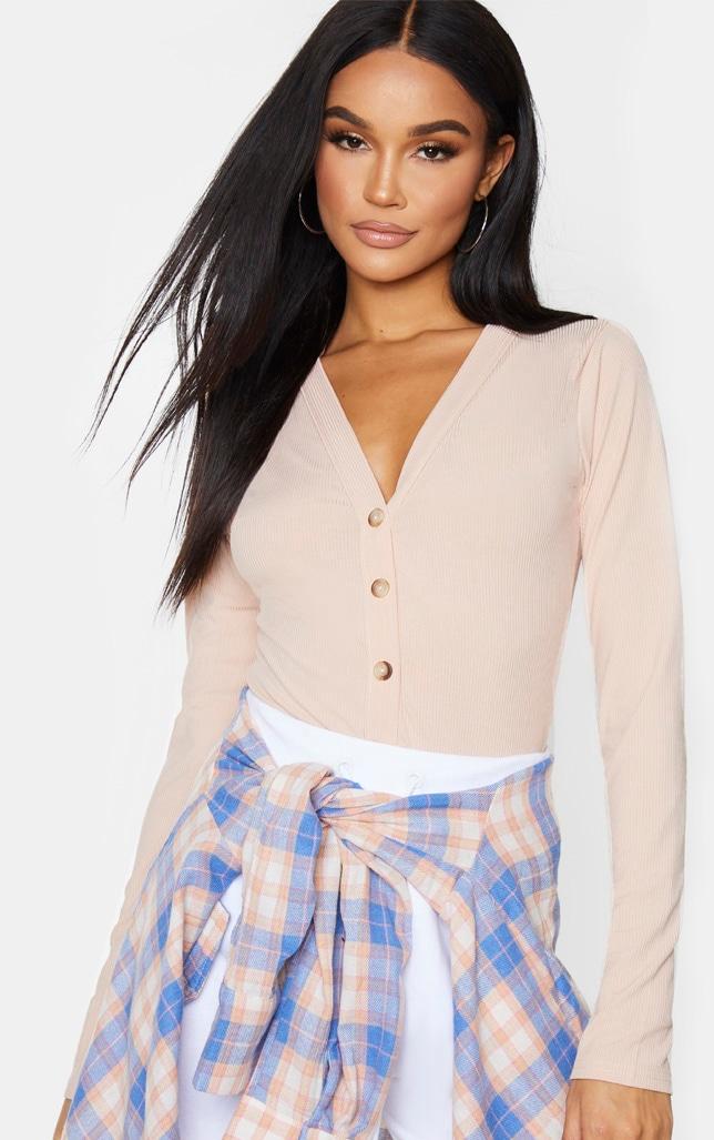 Blush Long Sleeve Button Detail Bodysuit 1
